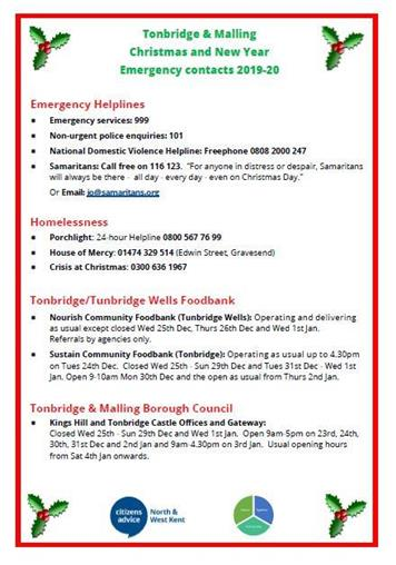 - EMERGENCY CONTACT NUMBERS FOR FESTIVE PERIOD