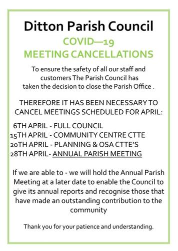 - ALL APRIL MEETINGS CANCELLED